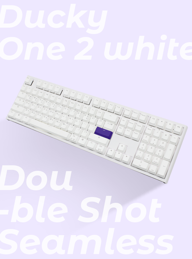 DUCKY ONE 2 SEAMLESS WHITE PBT 이중사출 한글 갈축