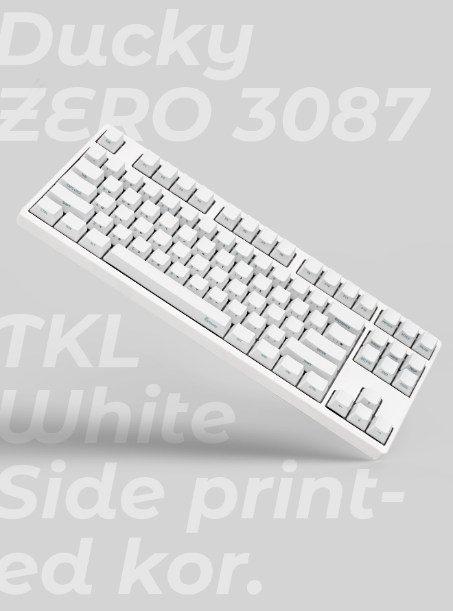 DUCKY ZERO 3087 TKL WHITE PBT 측각 한글 저소음적축