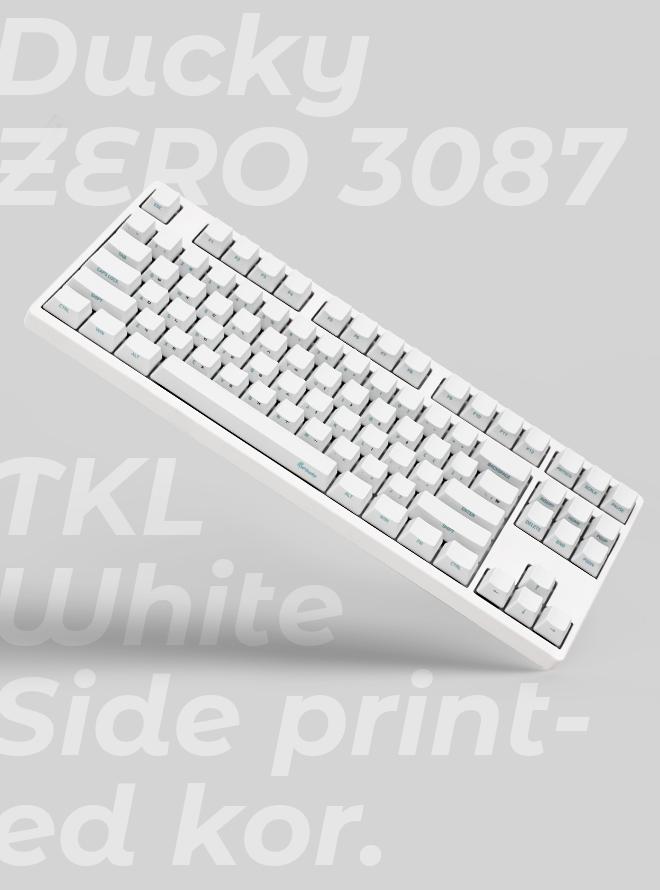 DUCKY ZERO 3087 TKL WHITE PBT 측각 한글