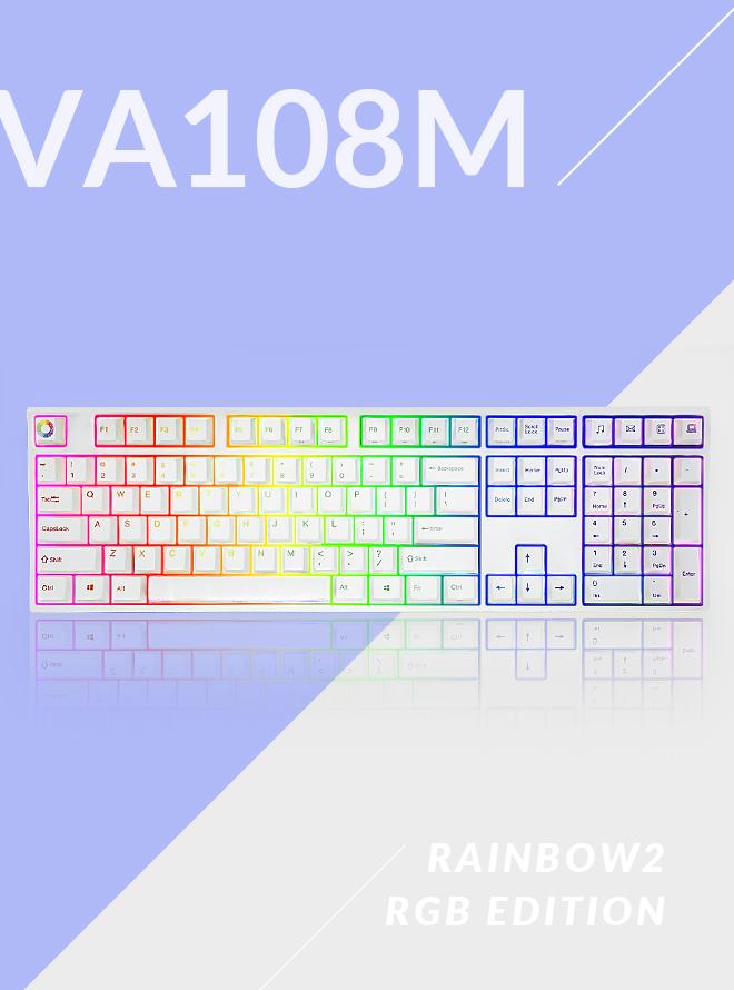 [리퍼S+등급] VARMILO VA108M RAINBOW 2 RGB LED PBT 염료승화 영문 적축