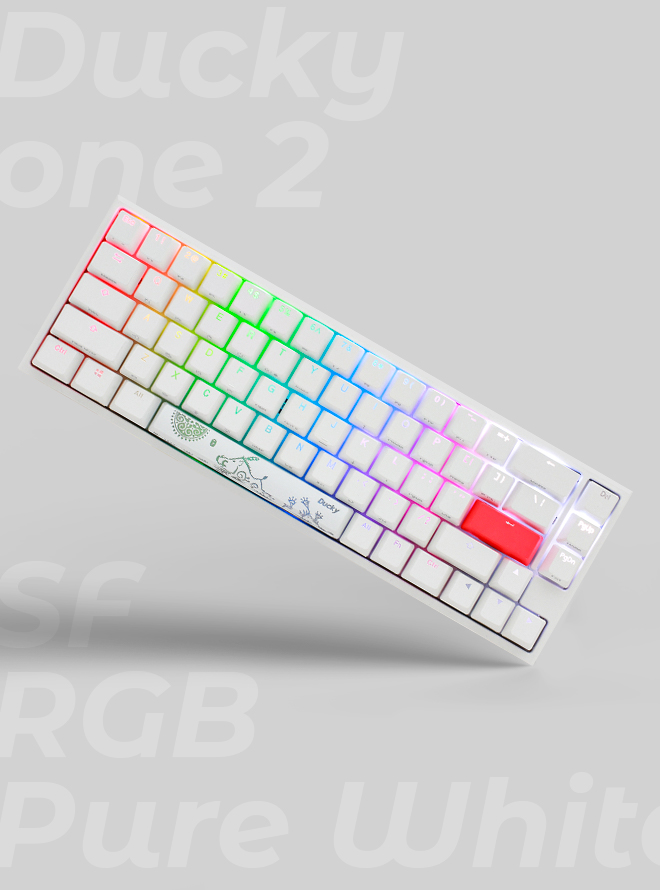 DUCKY ONE 2 SF RGB PURE WHITE PBT 이중사출 영문