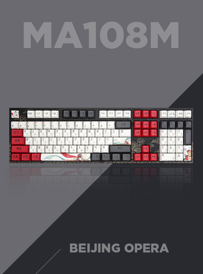VARMILO MA108M Arts Collection Beijing Opera 염료승화 영문 무접점